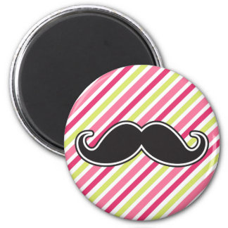 Black handlebar mustache pink lime green stripes magnet