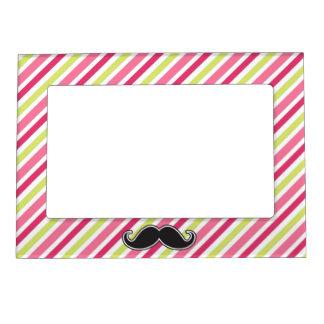 Black handlebar mustache pink lime green stripes magnetic photo frame
