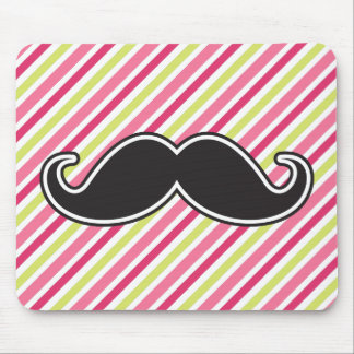 Black handlebar mustache pink lime green stripes mouse pad