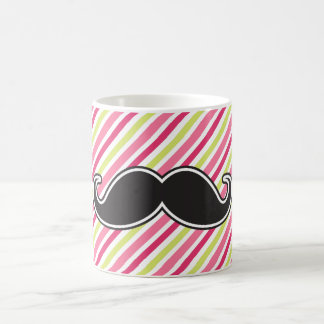 Black handlebar mustache pink lime green stripes classic white coffee mug