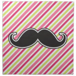 Black handlebar mustache pink lime green stripes napkin
