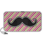 Black handlebar mustache pink lime green stripes PC speakers