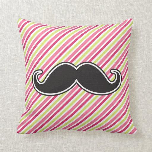 Black handlebar mustache pink lime green stripes throw pillows Zazzle