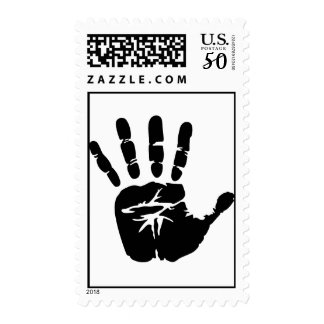 Black handprint postage