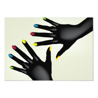 Black Hands With Painted Nails Invitations