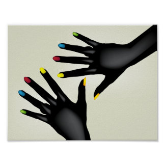Black Hands With Painted Nails Poster