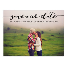 Black Handwritten Script Photo Save Our Date Postcard at Zazzle