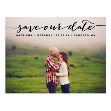 misstallulah Black Handwritten Script Photo Save Our Date Postcard