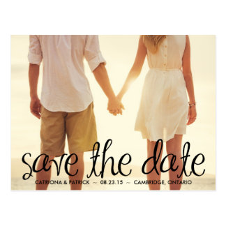 Black Handwritten Script Save the Date Postcard