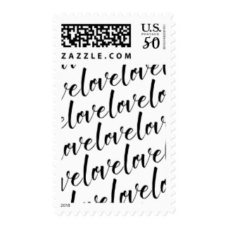 "Black Handwritten Typography, ""love"", 18a, Tiled Postage"