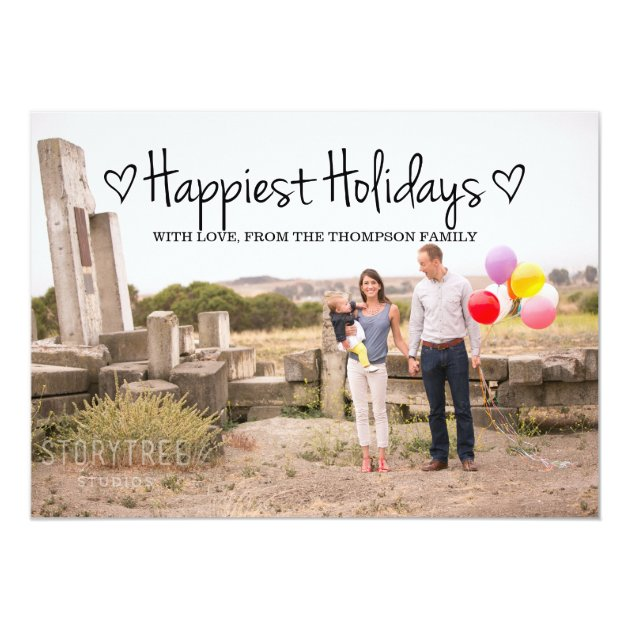 Black Happiest Holidays Photo Flat Card