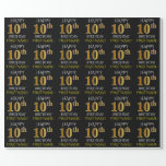 """[ Thumbnail: Black, """"Happy 10th Birthday"""" Wrapping Paper ]"""