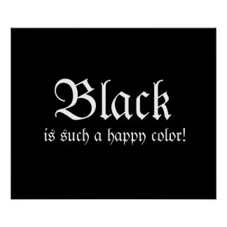 Black Happy Color Morticia Addams Poster
