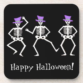 Black Happy Halloween Whimsy Dancing Skeletons Coaster