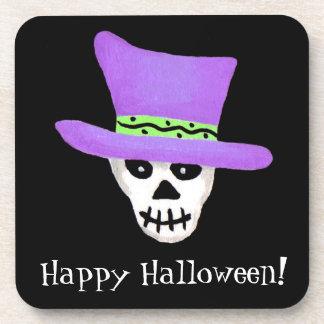 Black Happy Halloween Whimsy Skeleton Skull Coaster