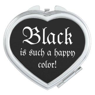 Black Happy Morticia Addams Compact Mirror