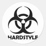 black hardstyle tribal round sticker