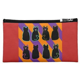 Black Harlequin Cats Purple & Orange on Red Cosmetic Bag