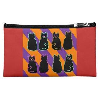 Black Harlequin Cats Purple & Orange on Red Cosmetic Bag