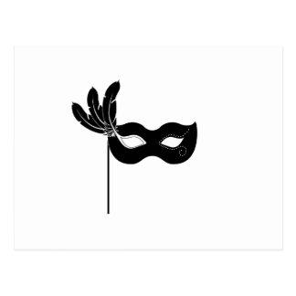 Black Harlequin Mask Postcard