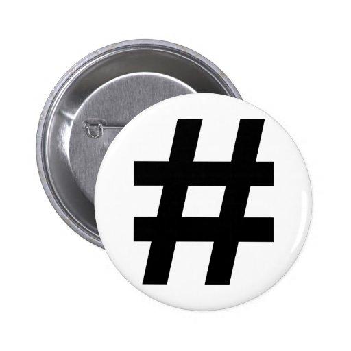 black hash number 2 inch round button