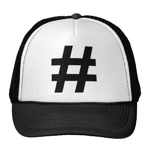 black hash number mesh hat