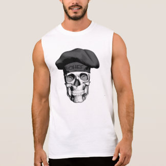 Black Hat Chef Skull Sleeveless Shirt