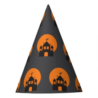 Black haunted house, bats for Halloween Party Hat