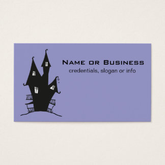 Black Haunted House on Purple Background Business Card
