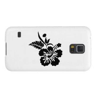 Black Hawaiian Flowers Galaxy S5 Cases