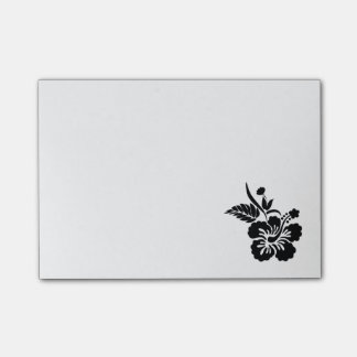 Black Hawaiian Flowers Post-it® Notes