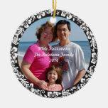 Black Hawaiian Hibiscus Christmas Photo Ornament