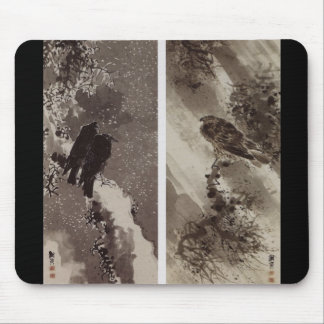 Black Hawk and two Crows c. 1700's Japan Mouse Pad