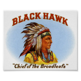 Black Hawk Chief of the Broadleafs Cigar Label Poster