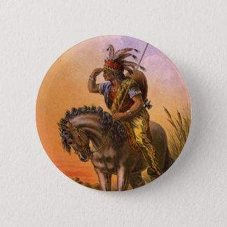Black Hawk Native American Indian Button