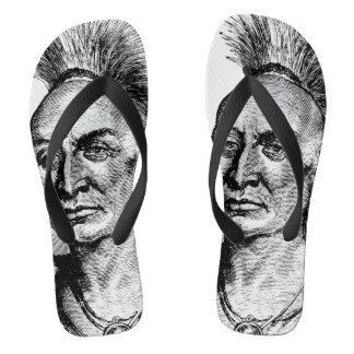 Black Hawk Native American Indian Warrior Flip Flops