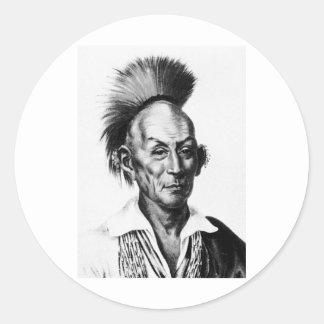 Black Hawk ~ Sac Sauk Indian Chief Round Stickers