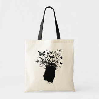 Black head silhouette and butterflies tote bag