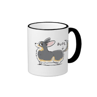 Black-headed Tri Pembroke Corgi (w/ Tail) Butt Mug