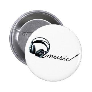 black headphones pinback button