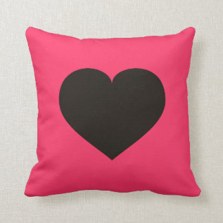 Black Heart and Black Hearts - Reversible Throw Pillow