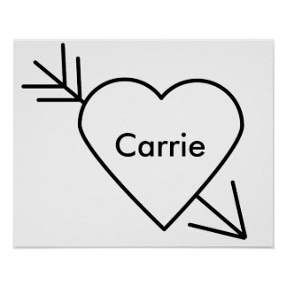 Black Heart Arrow Through It Personalize Poster