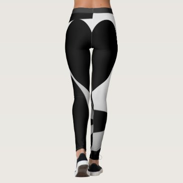 Halloween Themed Black Heart Back Swirls Leggings