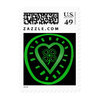 Black Heart Clover St Patrick's Day Stamp