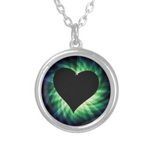 Black Heart; Cool Round Pendant Necklace