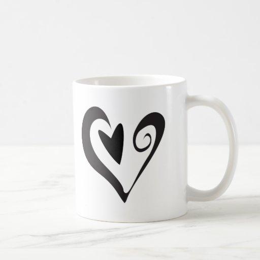 Black Heart in Heart Coffee Mugs