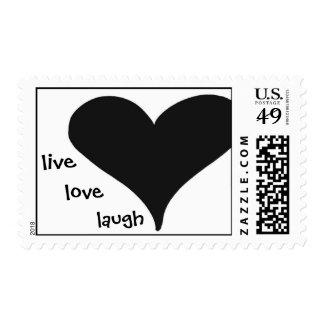 black heart, live, love, laugh stamps
