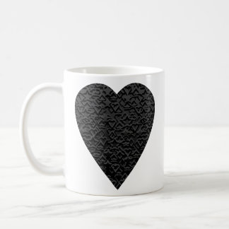 Black Heart. Patterned Heart Design. Coffee Mug