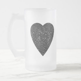 Black Heart. Patterned Heart Design. Frosted Glass Beer Mug