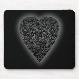 Black Heart. Patterned Heart Design. Mouse Pad